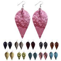 Wholesale flower weights for sale - Group buy Snake Skin Leather Earrings Light Weight Leather Leaf Petal Dangle Earrings For Girls Ladies