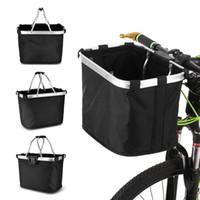 Wholesale folding baskets handles resale online - Lixada Bicycle Front Basket Folding Removable Bike Handlebar Basket Pet Cat Dog Carrier Bag Aluminum Frame Top Handles Bags