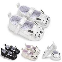 ingrosso scarpe da ginnastica sveglie della neonata-2017 Cute Mouse 0-18M Baby Girl bambini Soft Sole UP Leather Crib Shoes Sneaker antiscivolo
