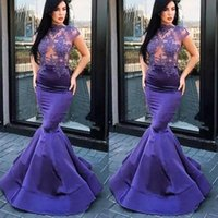 Wholesale hot pink ladies prom dresses resale online - Lavender Prom Dresses Appliques Mermaid Woman Illusion Prom Dress Hot Girl Lady Sexy Graduation Homecoming Formal Maxi Gowns