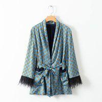 ingrosso giacca di vestito di kimono-2019 Primavera Donna Vintage Stampa Blazer con cintura Harajuku kimono Coat Pocket piuma nappa Outwear Donne Suit Giacche coreana