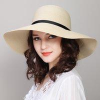 sombrero de papel paja mujer playa al por mayor-Sombrero grande del ala del sol de señora Summer Paper Straw Hats Mujeres UV Protect Floppy Beach Kentucky Derby Party Travel sombreros B-7844