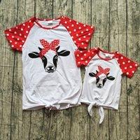 ropa de aspecto familiar al por mayor-Los nuevos bebés del verano camiseta superior de los niños con encanto raglanes de algodón ropa de la familia de la mama mirada rojo azul marino de punto raya de la estrella polka