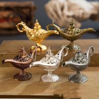 té vintage para niños al por mayor-Cuento de hadas de estilo antiguo Lámparas mágicas de Aladdin Tea Pot Genie Lamp Vintage Retro Toys For Kids Gift Home Tea Oil Pot Arabian Art Craft