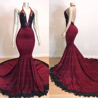 Wholesale black lace backless prom dress resale online - 2019 Dark Red Deep V Neck Mermaid Prom Dresses Backless With Black Lace Applique Plus Size Evening Gowns Sheer See Through Party Dress