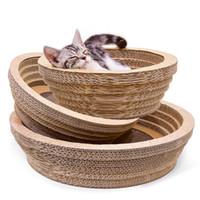 cojín del nido del gato al por mayor-Gran espacio Tipo de tazón Cat Scratch Board Pad Scratching pet Nest Toy Scratcher para pulir garras Cat Scratcher Toy Mat con un gato MINT Regalo