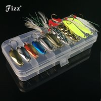 Wholesale fishing tackle boxes sale for sale - Group buy lure shapes Box Metal Spoon Lures Set in Plastic Fishing Tackle Box Spinner Bait Spoon Lure Jig Fishing Accessories On Sale