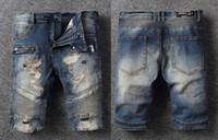 blue jean shorts for men toptan satış-Kaya canlanma kot YENI Fransız Tasarımcı Erkekler Jean Şort Yaz Denim Mavi Yırtık Yarım Diz Boyu Şort Slim Fit Şort Moda eğlence