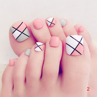 nagelspitzen füße großhandel-Dropshipping 24 Teile / satz 3D Toe Gefälschte Nägel Mit Kleber Fuß Volle Zehen Nail art Tipps Lady Girl Falsche Nägel SMJ