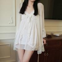 camisolas brancas vintage venda por atacado-Verão Mulheres Cotton White Nightgowns Modal Mini vestido sono Vintage Feminino Princesa elegante Night Dress Sexy Underwear