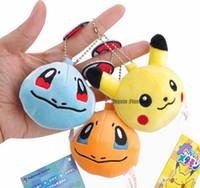 mini bebek video toptan satış-6 Modelleri, Doldurulmuş Hayvanlar anahtarlık Peluş Oyuncaklar Bebekler Pokemons Pikachu Mini Peluş Anahtarlık Kolye Oyuncak Sırt Çantaları Aksesuarları