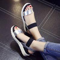 sandale schuhe großhandel-2019 neue Heiße Verkauf Sandalen Frauen Sommer Slip On Schuhe Peep-Toe Flache Schuhe Römischen Sandalen Damen Flip Flops Sandale