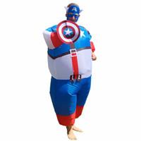 erkekler karnaval kıyafetleri toptan satış-2019 Yeni Kaptan Amerika Yetişkin Erkek Fan Şişme Kostüm Suit Süper Kahraman Kahraman Komik Cosplay Karnaval Cadılar Bayramı Kostüm Erkekler ve Kadınlar için