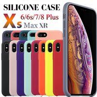 étuis iphone achat en gros de-Avoir LOGO Coques en silicone d'origine pour iPhone 6 7 8 Plus couverture de cas de silicone liquide pour iPhone X XR XS Max avec paquet de vente au détail