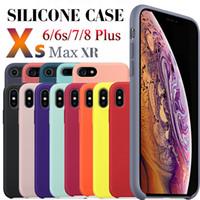 logoyu kapa toptan satış-Logo var orijinal silikon kılıflar için iphone 6 7 8 artı sıvı silikon kılıf kapak için perakende paketi ile iphone x xr xs max