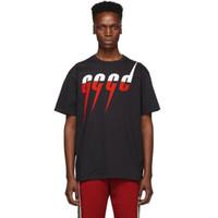 moda rahat erkek s tişört toptan satış-19SS Logo Yıldırım Baskı Tee Yaz İtalya'da Yapılan Moda Erkekler Siyah Renk Pamuk Tshirt Casual Tee T-shirt ÜST SÜRÜM HFLSTX403