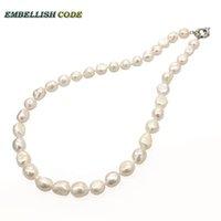 unregelmäßige süßwasserperlenkette großhandel-Gut weiße wundervolle barocke unregelmäßige Perlen verkaufen echte natürliche Süßwasser Perle Choker Halskette für Mädchen Frauen feinen Schmuck