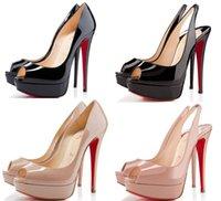 seksi kadınlar boyu 12 topuklu toptan satış-14cm Marka kadınlar Kırmızı Bottoms Yüksek Topuklar Seksi burnu Platformu Kırmızı Sole Ayakkabı Kadınlar Yüksek topuklu Parti Ayakkabı boyutu 34-43 pompaları