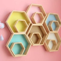 Wholesale baby decorations for nursery resale online - Nordic Style Nursery Kids Room Decoration Shelf Wooden Yellow White Honeycomb Hexagon Shelves for Baby Child Bedroom Decoration SH190918