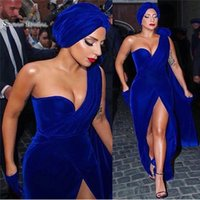 Wholesale green apple sexy lady resale online - Lady Gaga New Royal Blue Split Evening Dresses Mermaid One Shoulder Velvet Red Carpet Gowns Celebrity Prom Dress