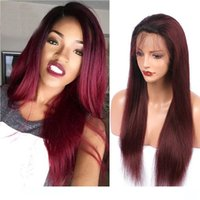 Wholesale black hair red wine resale online - L Red Wine Lace Front Wigs Ombre j Human Hair Glueless Virgin Brazilian Straight Ombre b j Full Lace Wigs For Black Women