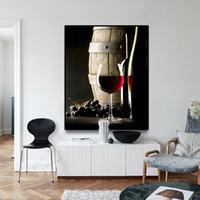 Lunettes de vin rouge Peinture moderne Poster Toile Photo Kitchen  Restaurant Bar Décoration Dinning salon Wall Art
