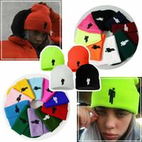 sombreros de lana de invierno al por mayor-Billie Eilish Beanie Sombreros de punto de invierno Gorra deportiva unisex Gorro de diseñador de lana Hombres Hip Hop bordado MMA2337-8
