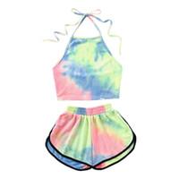 ingrosso maniche in pelle verde-Bikini Halter in fiore a due pezzi con top in fiore con pantaloncini e pantaloncini da spiaggia
