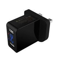двойной usb-зарядное устройство для великобритании оптовых-ВЕЛИКОБРИТАНИЯ ЕС США США Plug Dual USB Smart 2.4A LED Зарядное Устройство Зарядное Устройство Мобильного Телефона