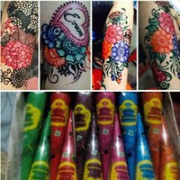 Wholesale art stencils for painting for sale - Group buy 10PC Colorful Henna Tattoo Paste Indian Waterproof Tattoo Mehndi DIT Drawing Tatoo Body Paint Art Cream Cone For Stencil TSLM2