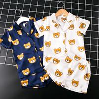 3t ropa al por mayor-Nuevos juegos de pijamas para niñas y niños pijamas de dibujos animados para niños Pijama Infantil Ropa de dormir Ropa para el hogar Pijamas de seda para niños pequeños 2-7T