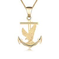 ancla de oro 18k al por mayor-18K chapado en oro barco ancla águila colgante collar estilo Hip Hop hombres collar de cadena para la fiesta de regalo