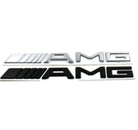 mercedes amg logo al por mayor-3D ABS Car Logo 3M AMG Letter Badge Sticker para Mercedes MB CL GL SL ML A SLK B C E S Class Silver Black Alta calidad