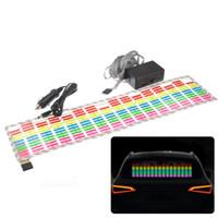 ecualizador led luces de coche al por mayor-70 * 16 cm de sonido activado la música del coche de la lámpara del ritmo ecualizador Multicolor LED parpadeante luz de tira reflectante