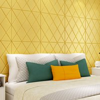 Wholesale wallpaper wood stickers for sale - Group buy Rhombus TV Background Wall Sticker Moisture Proof Wallpaper Waterproof Self Sticking Home Decorate Main Cement Walls Supplies ccC1