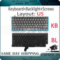 tornillo macbook al por mayor-Nuevo A1502 US English Keyboard + Backlight + 100Pcs Tornillos para Macbook Pro Retina 13