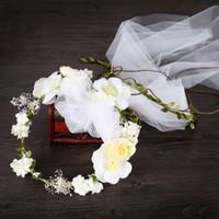 Wholesale ribbon head wreaths resale online - Women Handmade Sweet Satin Ribbon Hair Accessories Bridal Wedding Blueberry Head Wreath White Veil Fabric Flower Headdress