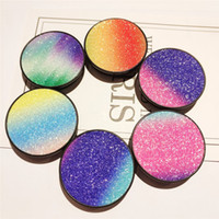 Wholesale glitter phone sticker for sale – best Glitter Bling Cell Phone Holder Degrees Rainbow Sticker Color Glitter Panel Patch Jewelry Mobile Phone Mounts For iPhone Plus X