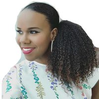 Wholesale drawstring hair ponytails for sale - Afro Puff Drawstring Ponytail Human Hair Afro Kinky Curly Ponytail Hair Extension Afro Bun Ponytail Clip on Hair Extensions For women g