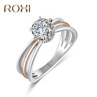 ingrosso donne anello roxi-ROXI Promise Anello Classic Wedding Ring Gioielli In Oro Rosa Color Argento Zircone Cubico Anelli Per Le Donne Regali di damigella d'onore anelli