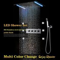 стальные вставки оптовых-Новый Дизайн Ванная Комната Электричество Power LED Душевые Системы Люкс 360x500 Нержавеющая Сталь Embed Потолок Большой Дождь Насадка для душа Set