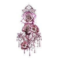 tatouage à la taille achat en gros de-Nouveau Pourpre Rose Bijoux Transfert de L'eau Autocollants De Tatouage Femmes Corps Corps Art Tatouage Temporaire Fille Taille Bracelet Tatouages Fleur