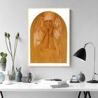 Wholesale brown wall panel art for sale - Group buy Alphonse Mucha Art Painting Girl in Brown Classic Canvas Paintings Vintage Wall Posters Stickers Home Decor Gift
