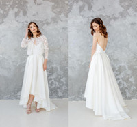 Wholesale wedding dresses wraps jackets resale online - Elegant Spaghetti Backless A line Bohemian Wedding Dress With Jacket Vintage White Satin Beach Boho Tea Length Bridal Gown