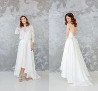 boho çay elbisesi toptan satış-Zarif Spagetti Backless A-line Bohemian Gelinlik Ceket Ile Vintage Beyaz Saten Plaj Boho Çay Boyu Gelin Kıyafeti