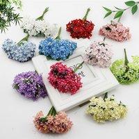 Wholesale cheap artificial wreath online - 12 Cherry Silk Cheap Artificial Flowers Bride Bouquet Wedding Scrapbooking Gift Box Decoration Diy Wreath Craft Fake Flower