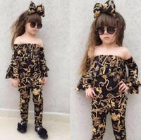 camisa de hombro niños al por mayor-Baby Girl Clothes Sets Conjuntos de flores con hombros descubiertos con pantalones florales + Diadema elástica de Bowknot para niños Trajes impresos de oro GGA2075