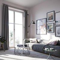 голубой потолок гостиной оптовых-Ткань для штор полностью затемненная спальня Чистый цвет гостиной дикий от пола до потолка утепление оконной шторы Занавес закончен простой и современный