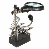 elektronische lupen großhandel-Freeshipping Neue 2.5X 7.5X 10X LED-Lichtvergrößerungsglas-elektronische Tischlupen-Lupe mit heller helfender Handhilfsklemme