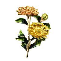 ramos amarillos al por mayor-Joyería broches de los pernos moda de la boda del ramo de ropa broche del esmalte púrpura Pnk amarillo flor de la margarita de las mujeres Pin